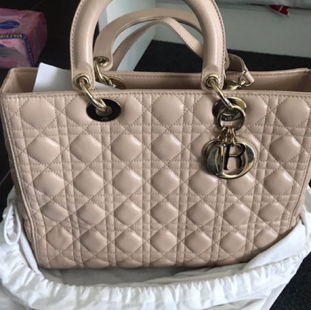 Authentic Large Lady Dior Nude Beige Leather Designer Hand Bag With Receipts Excellent Condotion