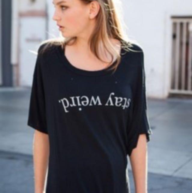 Black Stay Weird T-Shirt