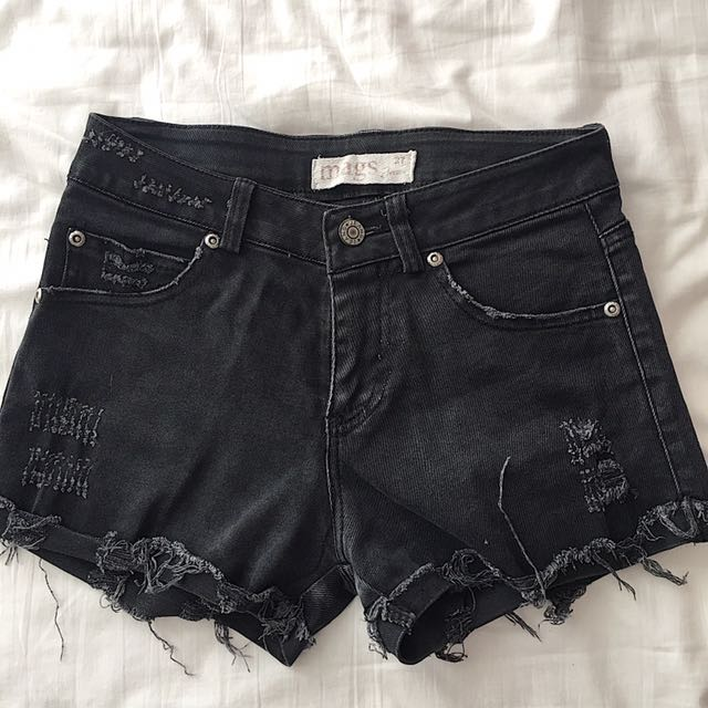 Black Tattered Shorts From Mags