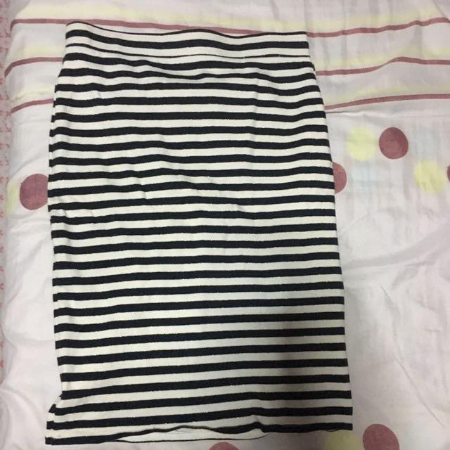 Blue and White Stripes Skirt
