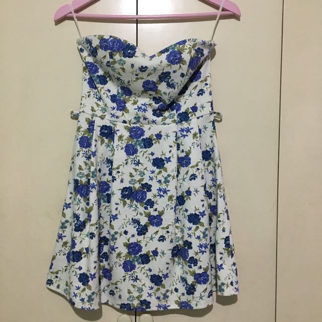 Hip Culture Blue Floral Tube Fit and Flare Dress