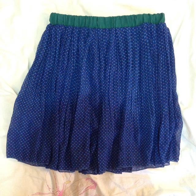 Blue Polkadot Mini Skirt