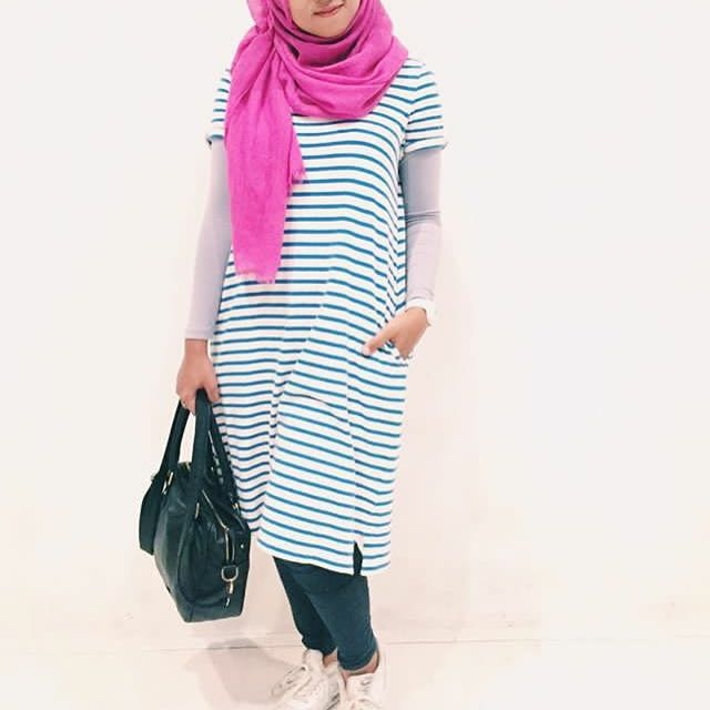 Blue Stripes Midi Dress
