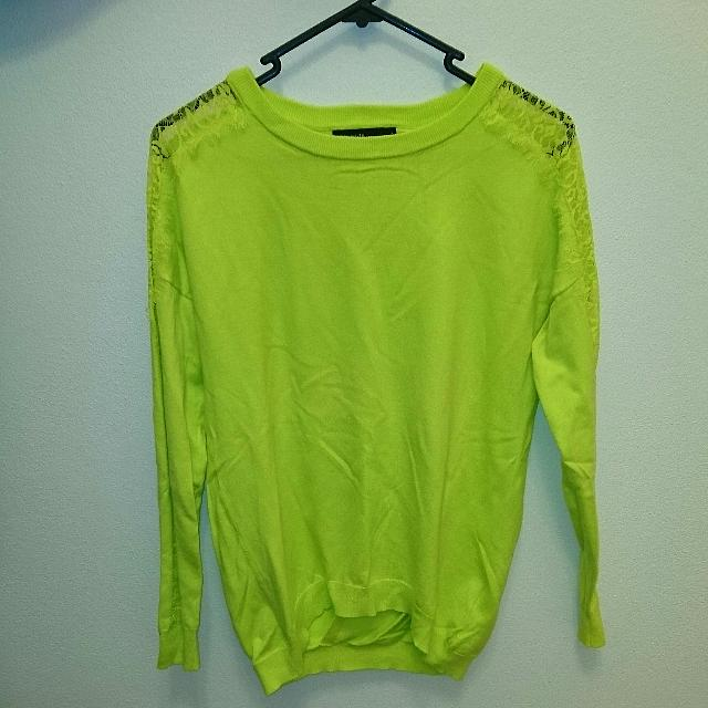 Bright Yellow Karen Millen Knit Or Sweater With Lace Arm Details And Subtle Open Back