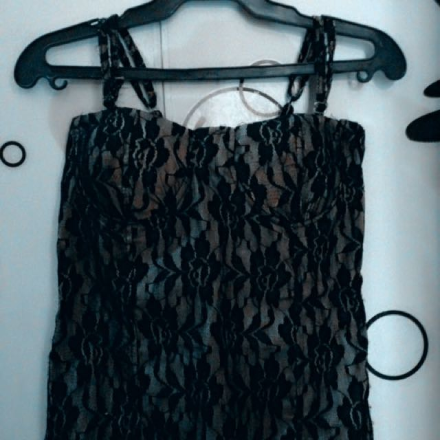 Bustier Lace Top (Black/Brown Gold)