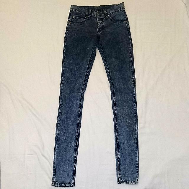 Cheap Monday Dark Acid Wash Skinny Jeans Size 24