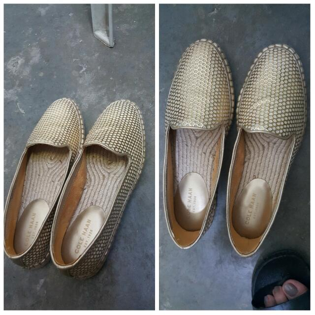 REPRICE!!! COLE HAAN GOLD LOAFERS