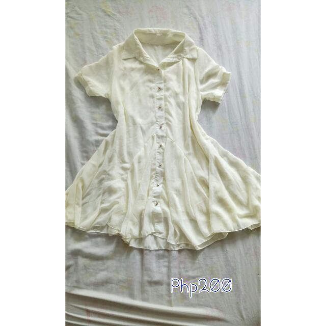 Cream Button-up Dress