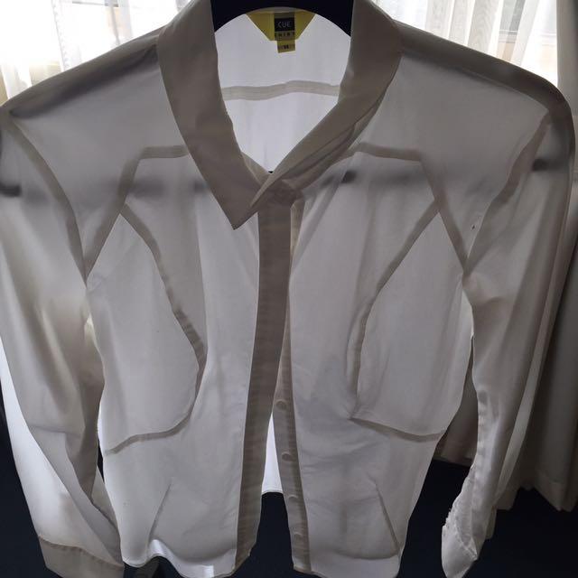 Cue White Collard Shirt Size 14