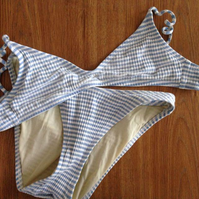 cute horizontal striped bikini blue white
