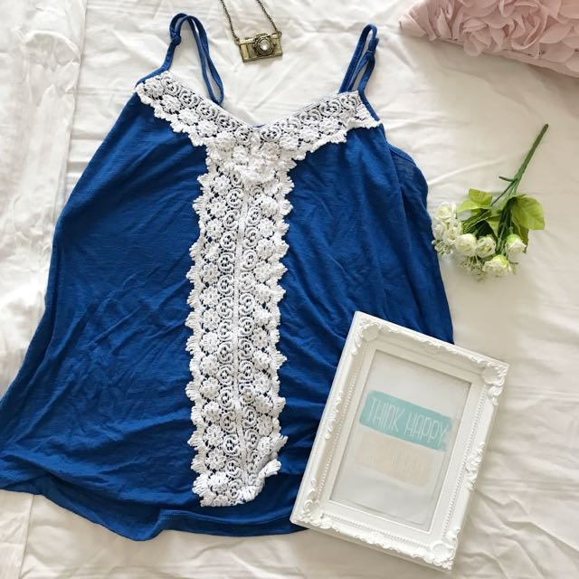 Dark Blue Lacy Tank Top Blouse