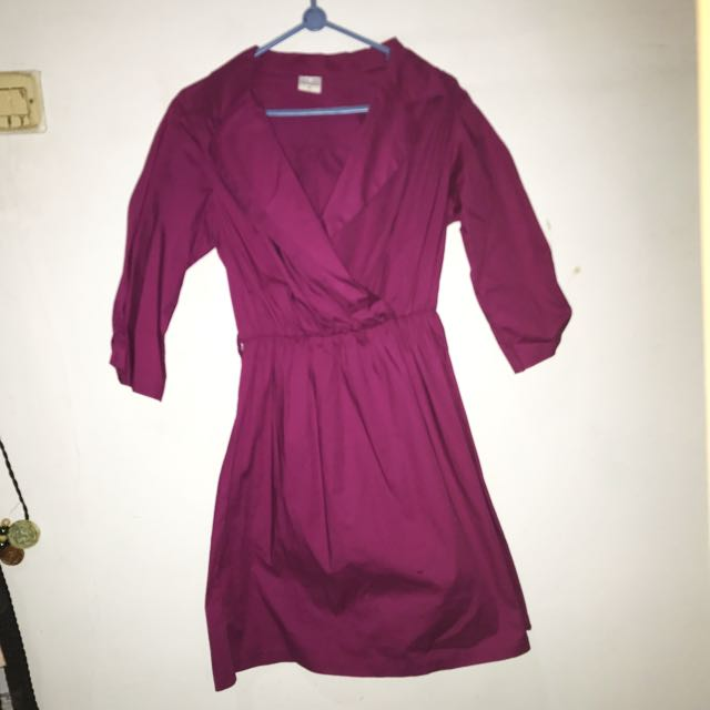 dress overcoat wanita pink