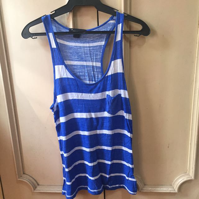 Forever21 Blue & White Stripped Tank Top