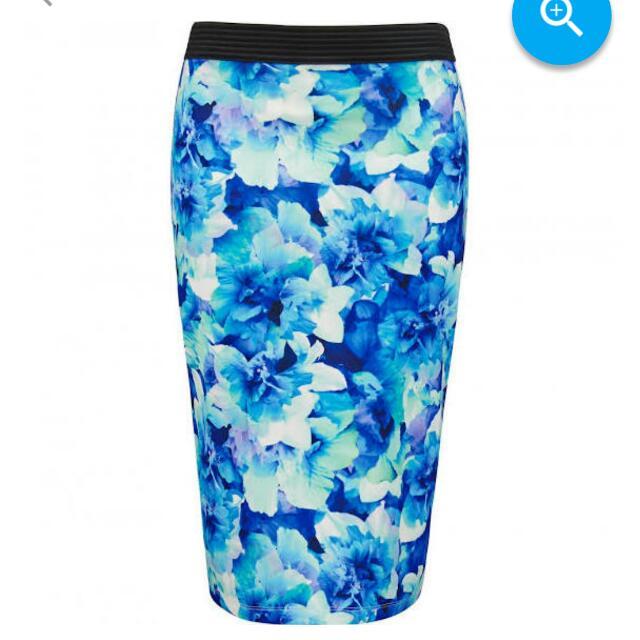 Forever New Blue Scuba Pencil Skirt 14