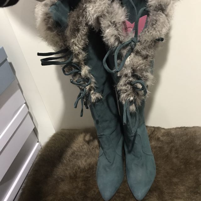 Fur 2 Ways Green Boots Size 37