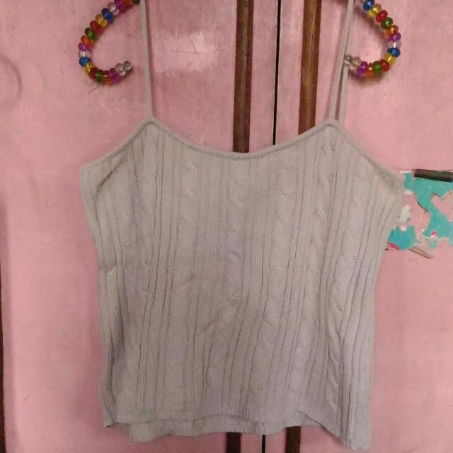 Giordano Cream Knitted Crop Top