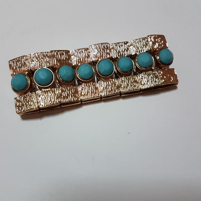 Gold Turquoise Bangle Bracelet