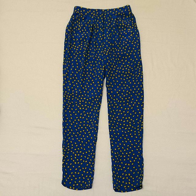 Gorman 100% Silk Blue And Yellow Polka Dot Pants Or Trousers