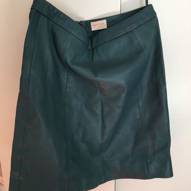 Gorman Green Leather Skirt