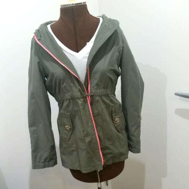 Green Jacket Pink Zip