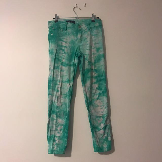 Green Tie Dye Skinny Jeans