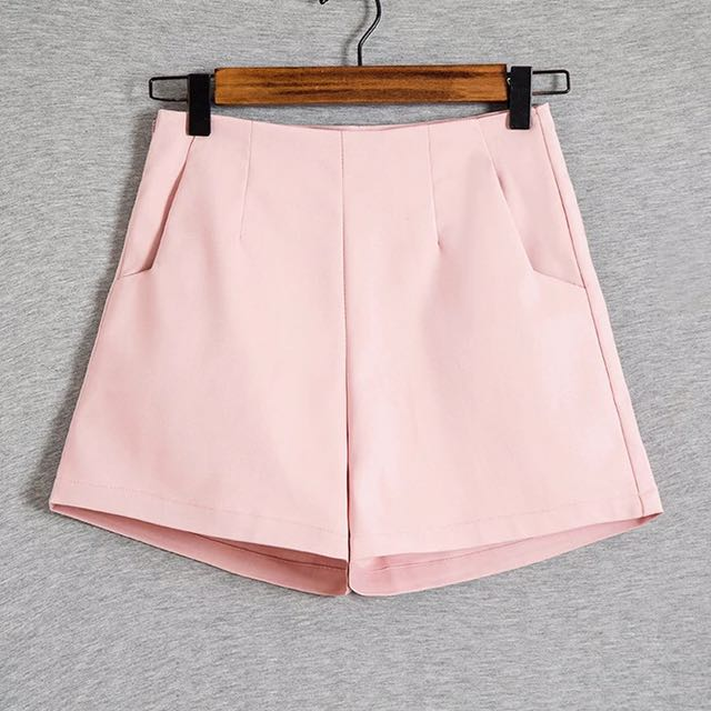 de639a7631 High-waisted Shorts Pastel Pink, Women's Fashion, Clothes, Pants, Jeans &  Shorts on Carousell