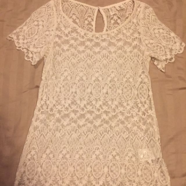 H&M Short Sleeves White Blouse