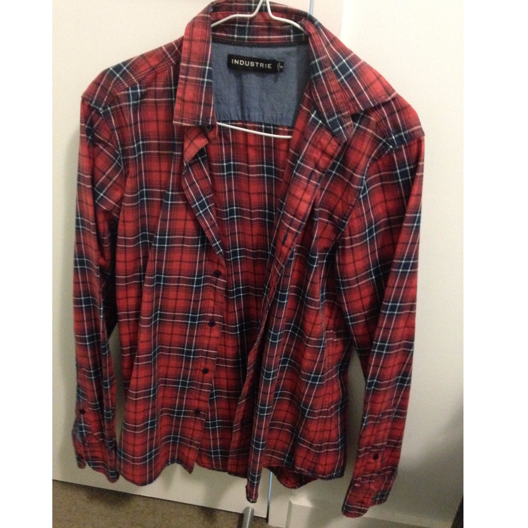 Industrie Red & Black Check Shirt Size Small Slit Fit