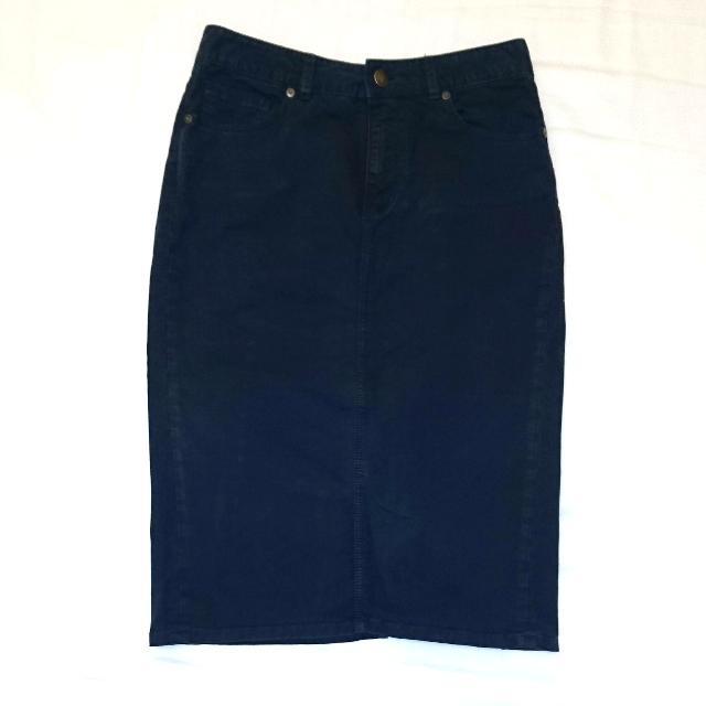 Jac + Jack Faded Navy Denim Jean Midi Skirt