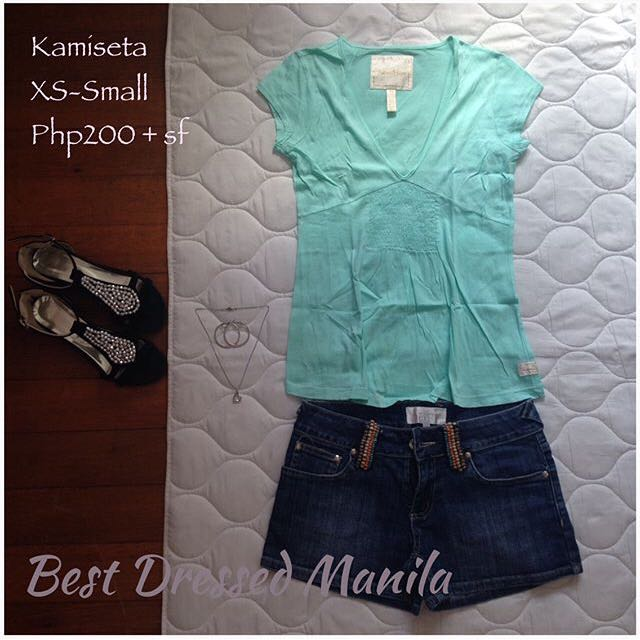 Kamiseta Green Deep V-neck Top