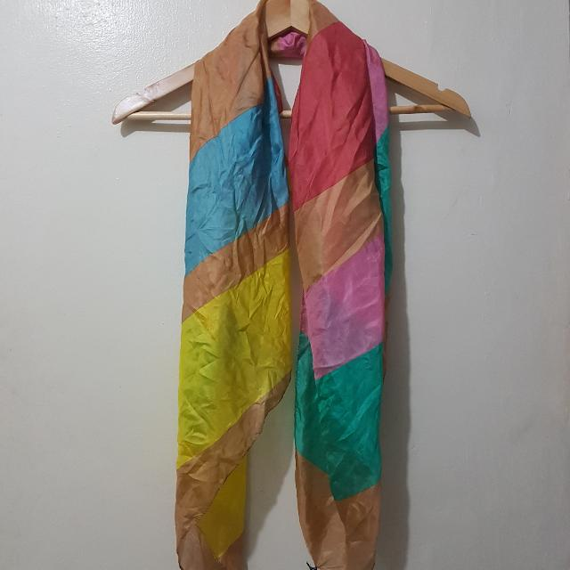 Kookai Bright Colored Stripe Silk Scarf