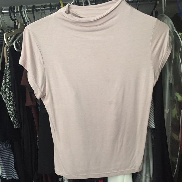 Light Blush Pink High Neck Crop Top