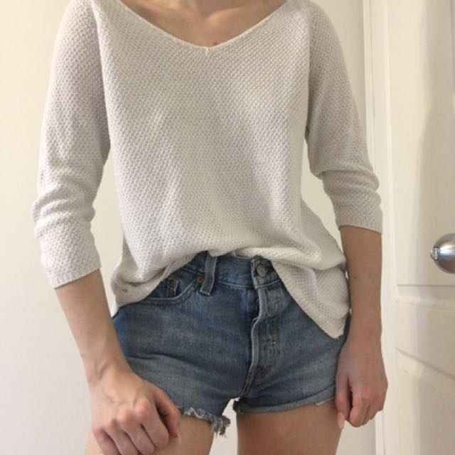 Loose White Knitted Sweater