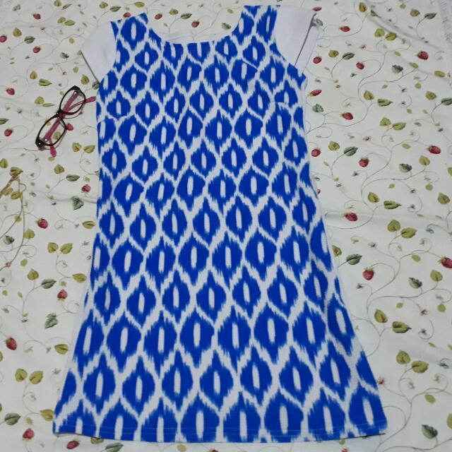 Blue Print Mini Dress
