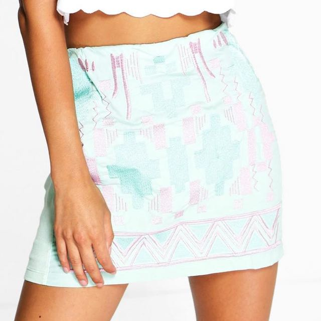Mint Green and Pink Aztec Print Skirt