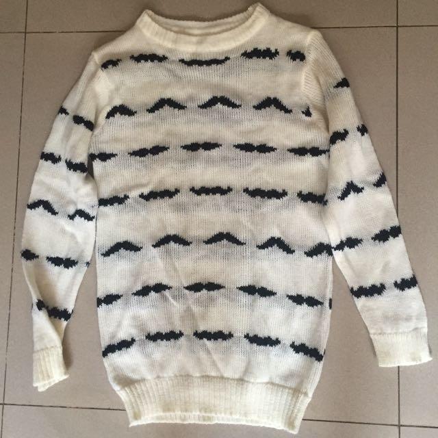 Mustache Sweater ( Cream )