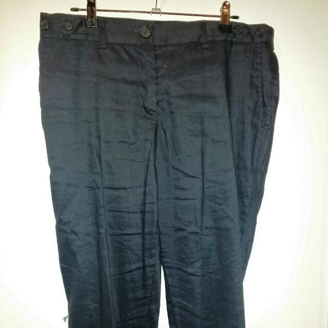 Navy Linen Pants With Cuff At Ankle