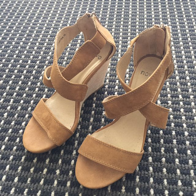 Novo Beige Wedge Sandals - AU 7