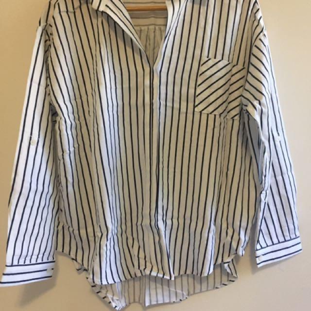 Oversized Boyfriend Shirt - Nautical Blue Stripes