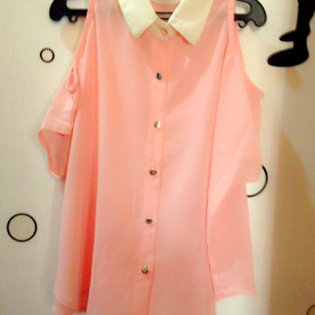 Peach Chiffon/Cold Shoulder Blouse