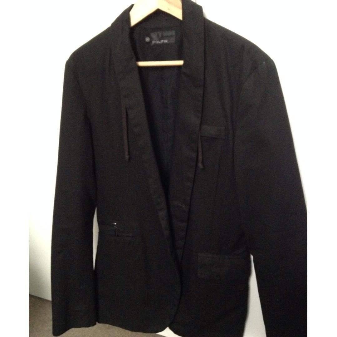 Politix Men's Jacket/Casual Blazer Size Medium Black Slim Fit