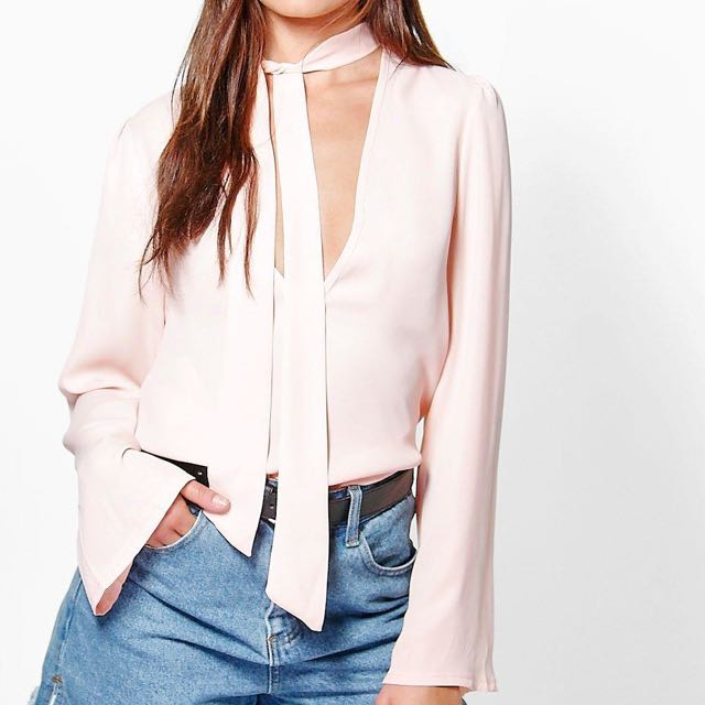 Poppy Pussy Tie-Neck Bow Plunge Blouse