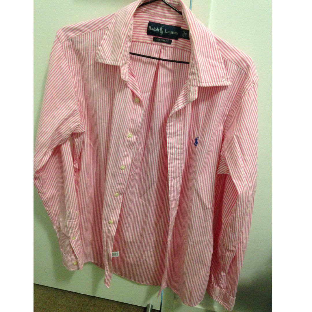 Ralph Lauren White & Pink Stripe Shirt Custom Fit Size Small