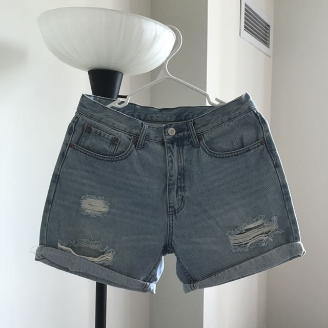 Ripped Denim Shorts - Cheap Monday - Size 27