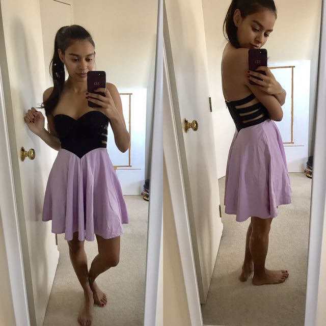 Size 6 Black And Lilac Dress