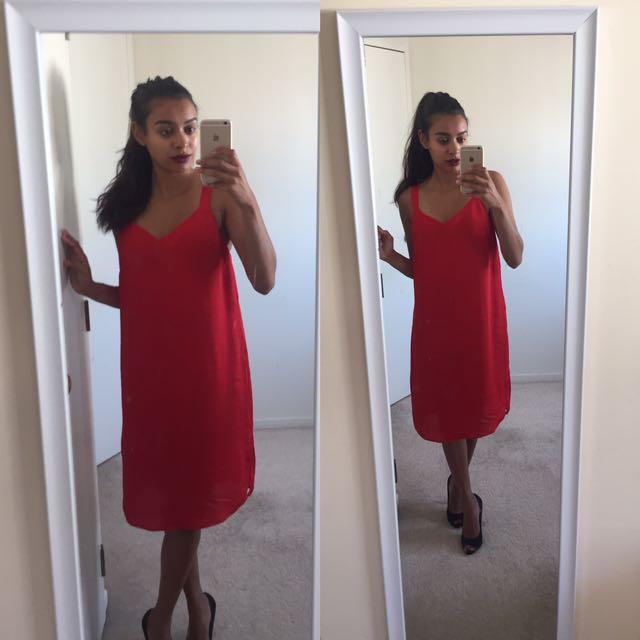 Size 6 Red Midi Dress