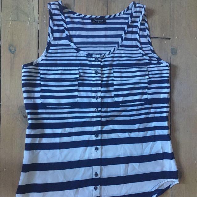 Size 8 Navy And White Sleeveless Top