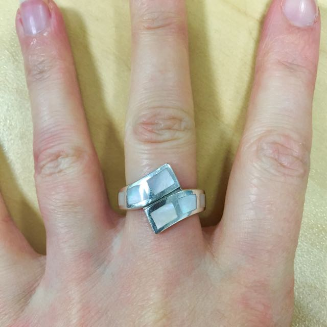 Pearly Stirling Silver Ring