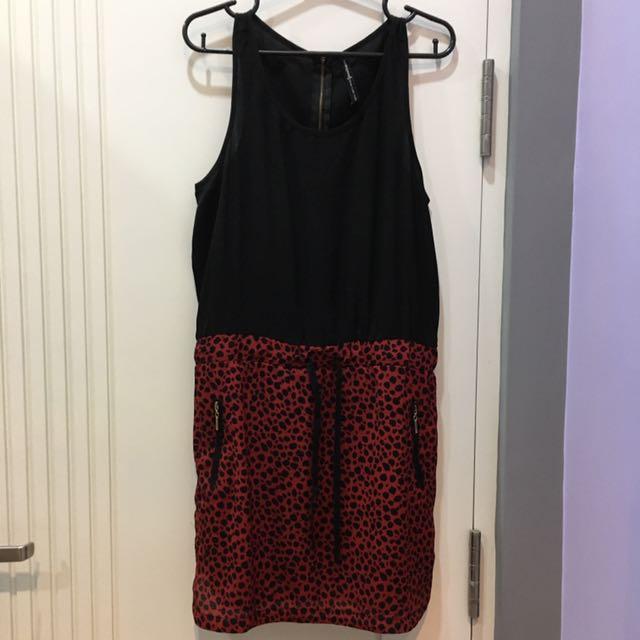 Stradivarius Red Leopard Dress