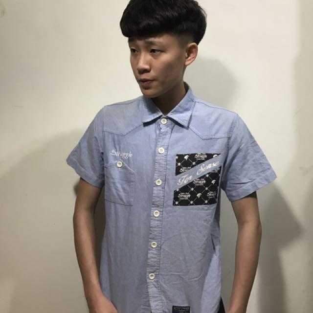 Struggle 藍色 淺藍色 短袖襯衫